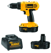 Battery-powered drill and charger set